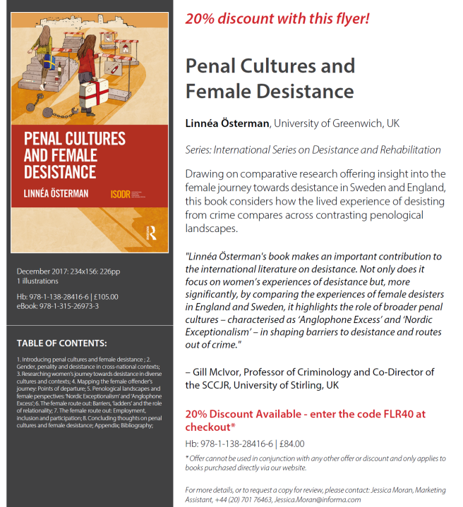 Discount Penal Cultures Female Desistance